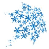 Big blue snowflake made of small ones Stock Image