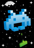Big Blue Space Invader. 3D style invader from outer space in vector format Stock Photos