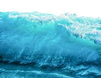 Big blue stormy sea wave isolated on white background. Climate nature concept. Front view.  stock image