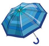 Big blue sun parasol umbrella against rain Royalty Free Stock Images