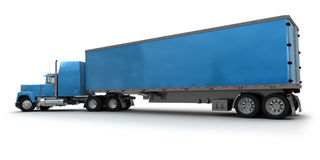Big blue trailer truck Royalty Free Stock Images