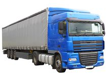 Big blue  truck. Isolated over white. Stock Images