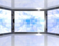 Big Blue TV Monitors Wall Mounted Stock Image