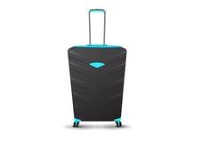 Big Blue und schwarzer Koffer auf Rädern mit Teleskopstiel Stockfotos