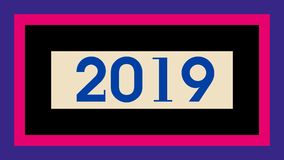 """New Year illustration design. Big blue""""2019"""" number on pale bright yellow small horizontal rectangle-shaped which is on black backround.This all shape royalty free illustration"""