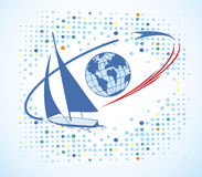 Big blue yacht around the world.Yacht club logo Stock Photos