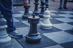 Big board with chess on the street. Image for background Stock Photos