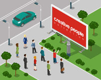 Big board in the city flat 3d web isometric infographic concept Stock Images