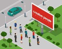 Big Board en el concepto infographic isométrico del web plano 3d de la ciudad Imagenes de archivo