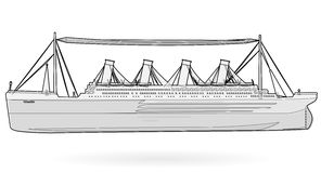 Big boat legendary colossal boat, black and white wire monumental big ship symbol. Royalty Free Stock Photography