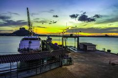 Big boat riverside royalty free stock photography