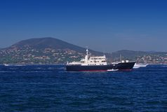 Big boat on the sea. Saint Tropez royalty free stock image
