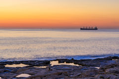 Big boat at sunrise in the sea in Malts Royalty Free Stock Image
