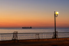 Big boat at sunrise in the sea in Malts Stock Photos
