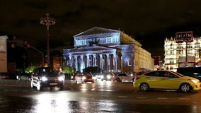 Big Bolshoy theatre at night illuminated for international festival  Circle of light on October 13, 2014 in Moscow, Russia stock video footage