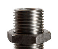Big bolt with nut close-up Royalty Free Stock Photo