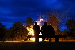 Big bonfire. On the nighttime Stock Photography