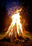 Big Bonfire and sparks in the night Royalty Free Stock Photo