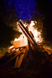 Big Bonfire and sparks in the night Royalty Free Stock Image