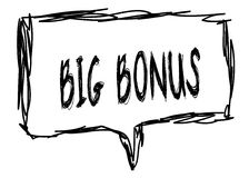BIG BONUS on a pencil sketched sign. Illustration graphic concept Royalty Free Stock Image