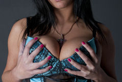 Big Boobs And A Cross Stock Photo
