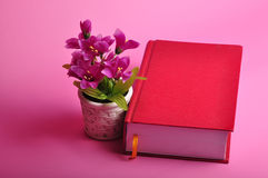 Big book. A hard cover big red book with flower pot Stock Images