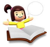 Big book report fun girl children Stock Photos