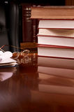 Big book stack on desk Royalty Free Stock Photography