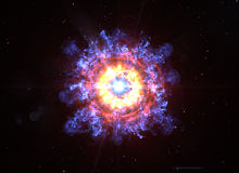 Big Boom in Deep Space. With Realistic Stars Background Stock Photography