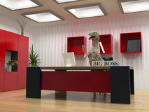 The big boss. The  dinosaur in boss room (3D render Stock Images