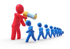 Big boss. Big abstract red boss shouting at the workers walking in a row Royalty Free Stock Images