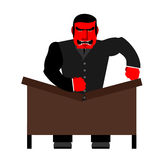 Big boss broke a table. Red  Businessman as loud in Office. Vect Stock Photos