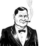 Big boss with a cigar. Retro styled black and white illustration of a serious businessman smoking a cigar Royalty Free Stock Images