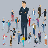 Big boss leader office abstract with a background of Isometric people. Businessman big boss leader office abstract with a background of isometric 3d flat design royalty free illustration