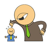 Big boss scolds. A giant cartoon character dressed like an executive scolding a little business man stock illustration