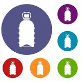 Big bottle icons set. In flat circle reb, blue and green color for web Royalty Free Stock Photography