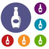 Big bottle icons set. In flat circle red, blue and green color for web Royalty Free Stock Images
