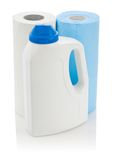 Big bottle and paper towels Royalty Free Stock Photography