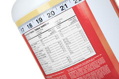 Big bottle of protein nutrition facts Stock Photo