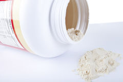 Big bottle of protein nutrition facts Royalty Free Stock Photo