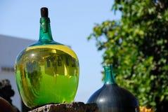 The big bottles with grape wine. Landscape reflected in the big bottle white grape wine Royalty Free Stock Image