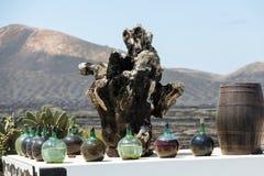 A big bottles with grape wine. Malvasia.  Lanzarote, Spain Stock Image
