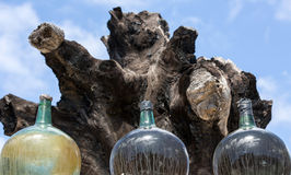 A big bottles with grape wine. Malvasia.  Lanzarote, Spain Royalty Free Stock Images