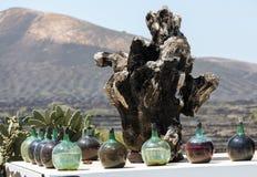 A big bottles with grape wine - malvasia.  Lanzarote. Spain Stock Photos