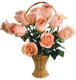 Big bouguet of peach roses. Stock Photo