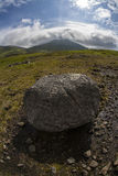Big boulder. In the nature. Fish eye perspective stock photos