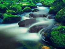 Big boulders covered by fresh green moss in foamy water of mountain river. Light blurred cold water with reflections, white whirlp Royalty Free Stock Photos