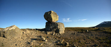 Big boulders on mountain plateau panoramic photo, Valdresflye Royalty Free Stock Images