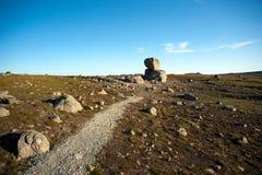 Big boulders on mountain plateau Valdresflye, Jotunheimen Stock Photography