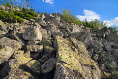 Big boulders at top of the mountain Stock Image